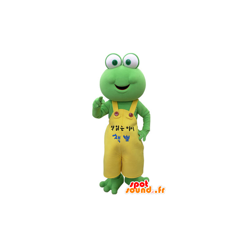 Green frog mascot with a yellow overalls - MASFR031382 - Mascots frog