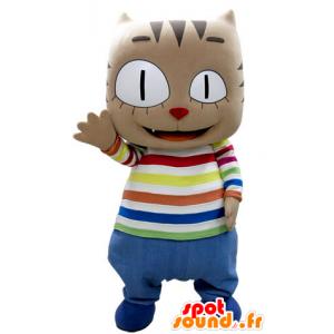 καφέ μασκότ γάτα με ένα μεγάλο κεφάλι, με πολύχρωμα ρούχα - MASFR031383 - Γάτα Μασκότ