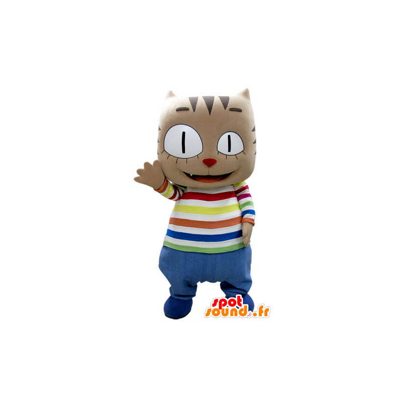 Brown cat mascot with a big head, in colorful outfit - MASFR031383 - Cat mascots