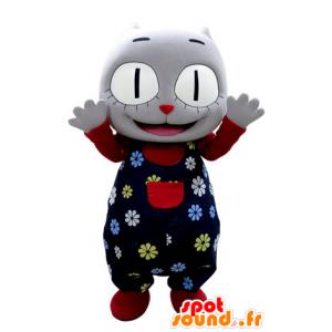 Grå katt maskot med å holde blomst - MASFR031384 - Cat Maskoter