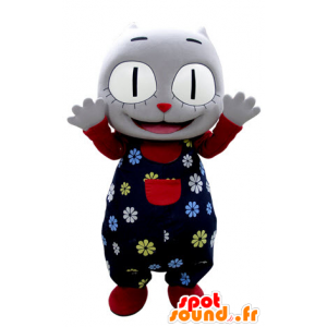 Szary kot maskotka z gospodarstwa kwiat - MASFR031384 - Cat Maskotki