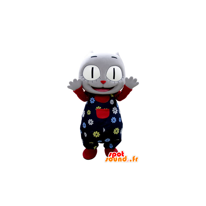 Gray cat mascot with holding flower - MASFR031384 - Cat mascots