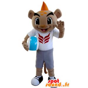 Mascota del tigre en ropa deportiva con una cresta de color naranja - MASFR031386 - Mascotas de tigre