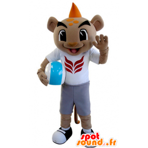 Tiger mascot in sportswear with an orange crest - MASFR031386 - Tiger mascots