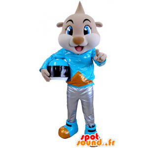 Beige tiger mascot dressed as a biker - MASFR031387 - Tiger mascots