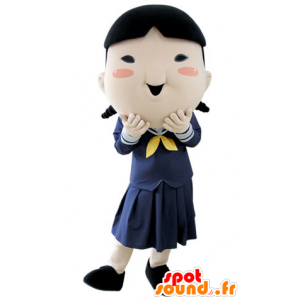 Mascot schoolgirl, brunette girl in uniform - MASFR031389 - Mascots boys and girls