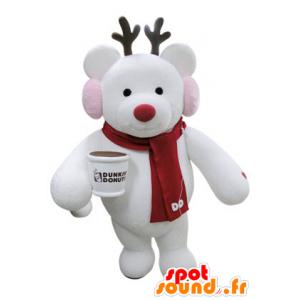 Kerst rendieren mascotte met een sjaal - MASFR031392 - Kerstmis Mascottes