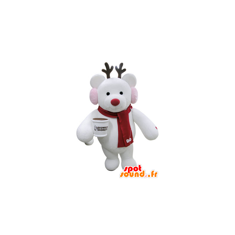 Christmas reindeer mascot with a scarf - MASFR031392 - Christmas mascots