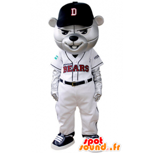 Grizzlies mascot dressed in baseball outfit - MASFR031393 - Bear mascot