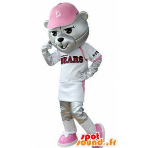 Grizzlies mascot dressed in baseball outfit
