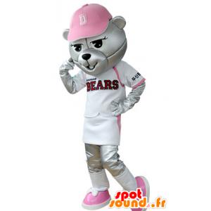 Grizzlies mascote vestida no equipamento de beisebol - MASFR031394 - mascote do urso