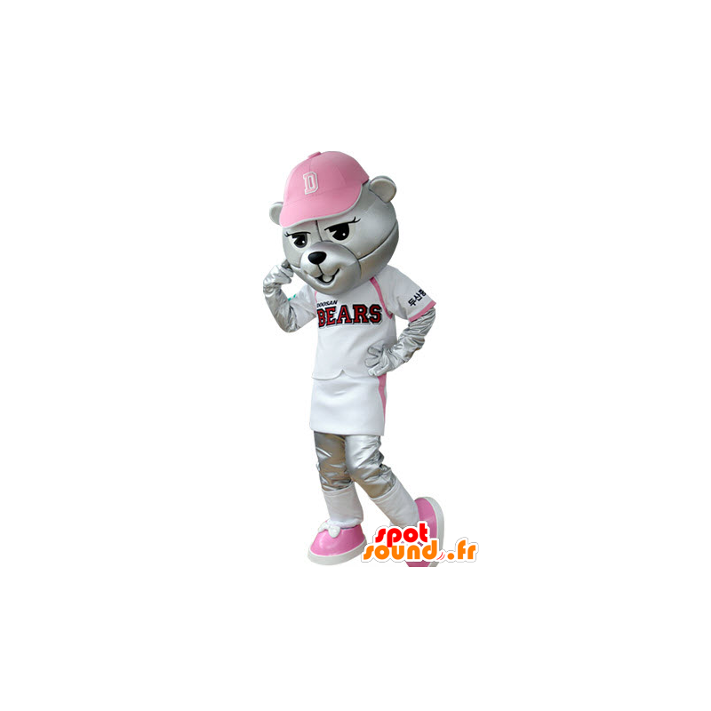 Grizzlies mascot dressed in baseball outfit - MASFR031394 - Bear mascot