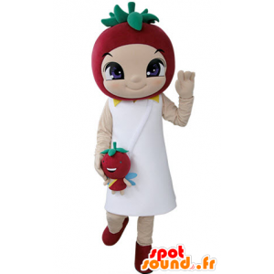 Girl mascot with a strawberry on top - MASFR031395 - Mascots boys and girls