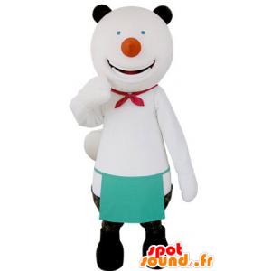 Mascot white and black bear, cheerful
