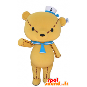 Yellow teddy mascot, a giant with a sailor hat - MASFR031402 - Bear mascot