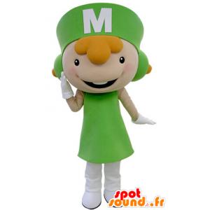 Redhead mascot dressed in a green uniform - MASFR031403 - Mascots boys and girls