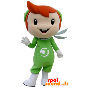 Boy mascot with red hair dressed in green - MASFR031404 - Mascots boys and girls