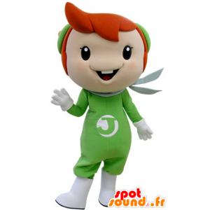 Mascot jongen met rood haar, gekleed in groen - MASFR031404 - Mascottes Boys and Girls