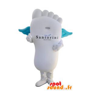 Reusachtige witte voet mascotte met blauwe vleugels - MASFR031406 - Niet-ingedeelde Mascottes