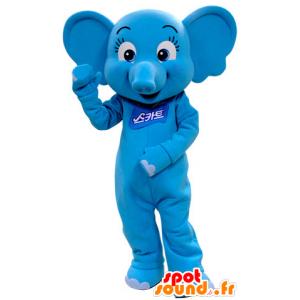 Blauer Elefant Maskottchen, feminin und kokett - MASFR031409 - Elefant-Maskottchen