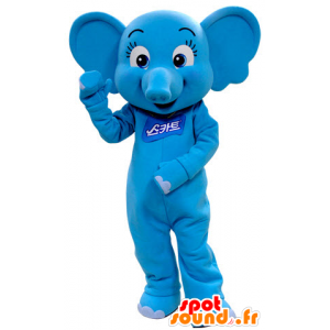 Blue elephant mascot, feminine and flirtatious - MASFR031409 - Elephant mascots