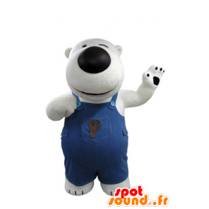 Mascot white and black bear, with overalls