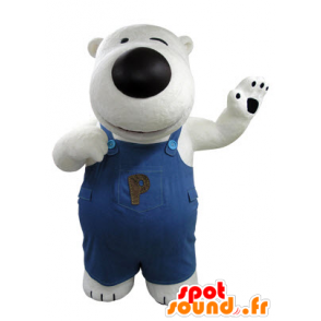 Mascot white and black bear, with overalls - MASFR031411 - Bear mascot