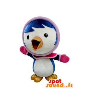 Mascot blue and white bird in winter outfit - MASFR031412 - Mascot of birds