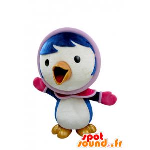 Blå og hvid fuglemaskot i vintertøj - Spotsound maskot kostume
