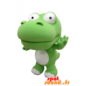 Mascotte coccodrillo verde e bianco, gigante. Dinosaur mascotte - MASFR031413 - Mascotte coccodrillo