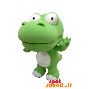 Mascotte de crocodile vert et blanc, géant. Mascotte de dinosaure