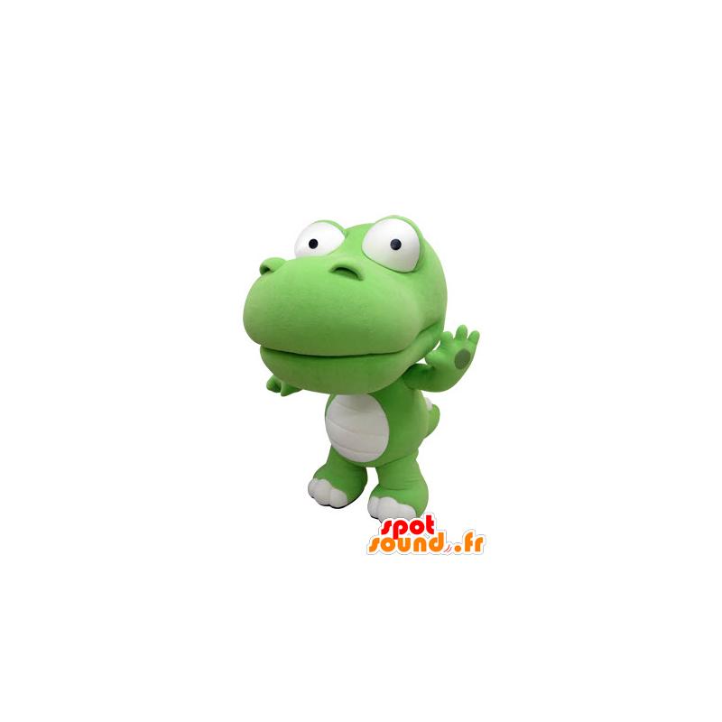 Grüne und weiße Krokodil Maskottchen, Riese. Dinosaurier-Maskottchen - MASFR031413 - Maskottchen Krokodil