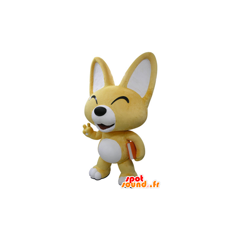 Yellow and white fox mascot. Mascot puppy - MASFR031415 - Mascots Fox