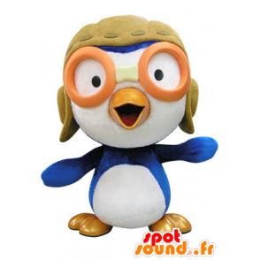 Blue and white bird mascot aviator outfit - MASFR031416 - Mascot of birds