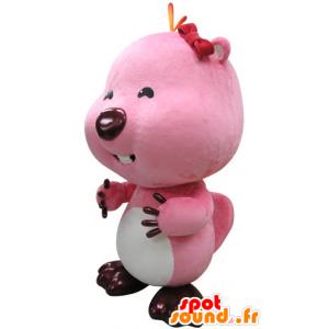 Rosa und weißen Biber-Maskottchen. Otter-Maskottchen - MASFR031417 - Biber Maskottchen