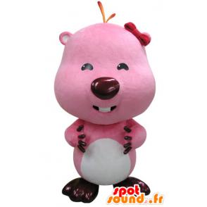 Pink and white beaver mascot. Otter mascot - MASFR031417 - Beaver mascots