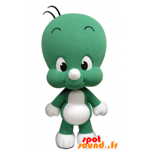 Mascotte piccolo uomo verde e bianco, carino e divertente - MASFR031419 - Umani mascotte