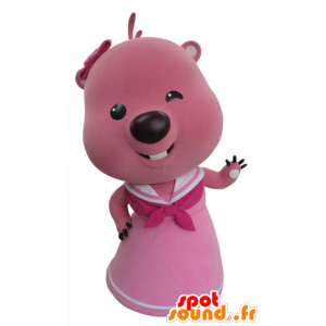 Pink and white beaver mascot. Otter mascot