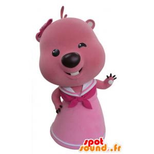 Rosa e bianco mascotte castoro. Otter mascotte - MASFR031420 - Castori mascotte
