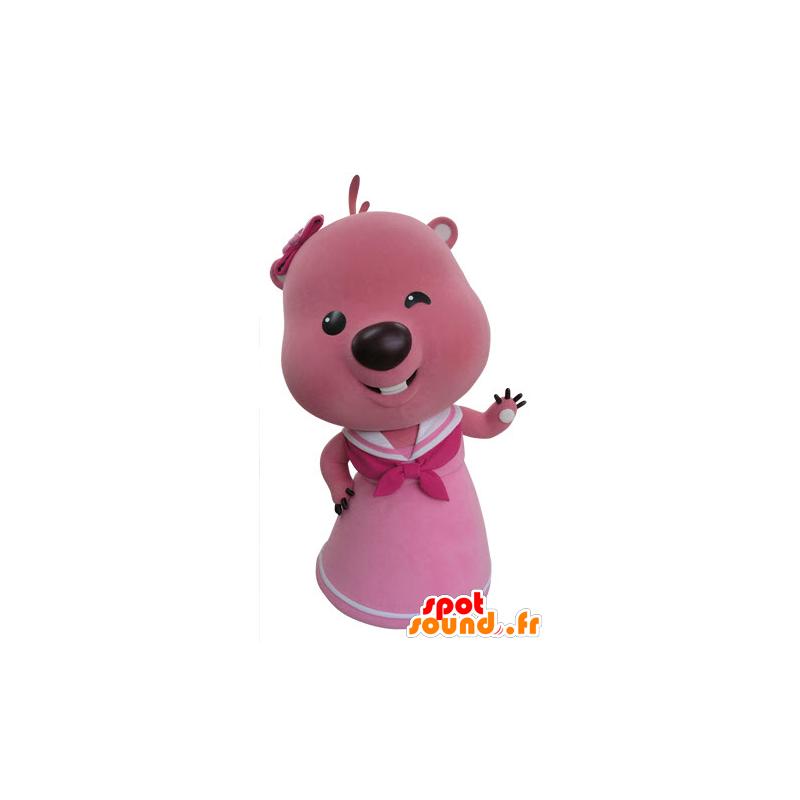 Pink and white beaver mascot. Otter mascot - MASFR031420 - Beaver mascots