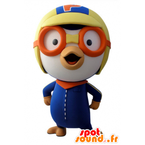 Blue and white bird mascot aviator outfit