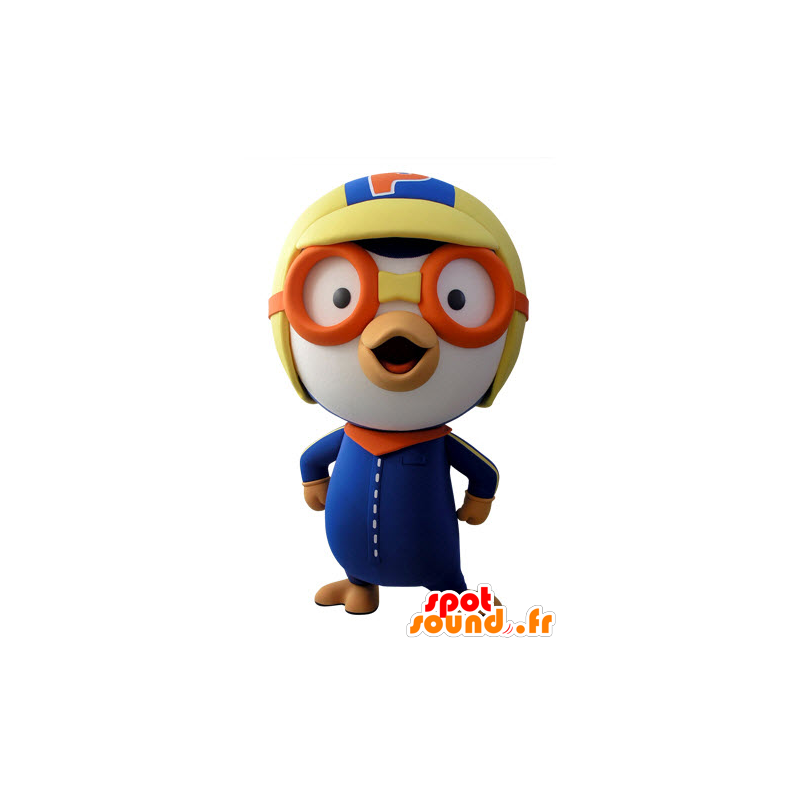 Blue and white bird mascot aviator outfit - MASFR031422 - Mascot of birds