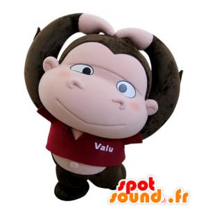 Brunt og rosa ape maskot med et stort hode - MASFR031424 - Monkey Maskoter