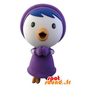Mascotte blauwe en witte vogel in de winter outfit - MASFR031426 - Mascot vogels