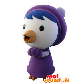 Mascot blue and white bird in winter dress - MASFR031426 - Mascot of birds
