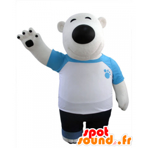 Polar Bear mascot and black, dressed in blue and white