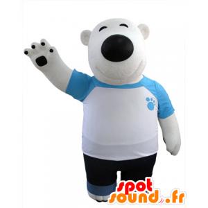 Polar Bear mascot and black, dressed in blue and white - MASFR031427 - Bear mascot