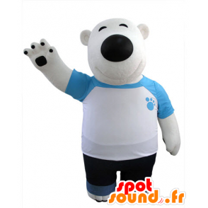 Polar Bear mascot and black, dressed in blue and white - MASFR031427 - Bear mascot