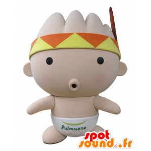 Mascota de bebé de color rosa, con un pañuelo y una pluma
