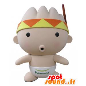 Mascote rosa bebê, com uma bandana e uma pena